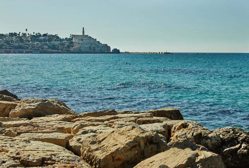 Mediterranean Sea overlooking the old port of Jaffa on a bright sunny November day stock images