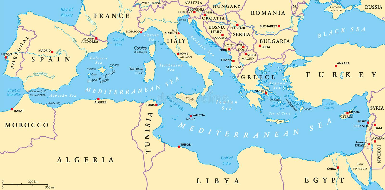 Mediterranean Sea Region Political Map. Region of lands around the Mediterranean Sea. South Europe, North Africa and Near East with capitals, national borders royalty free illustration