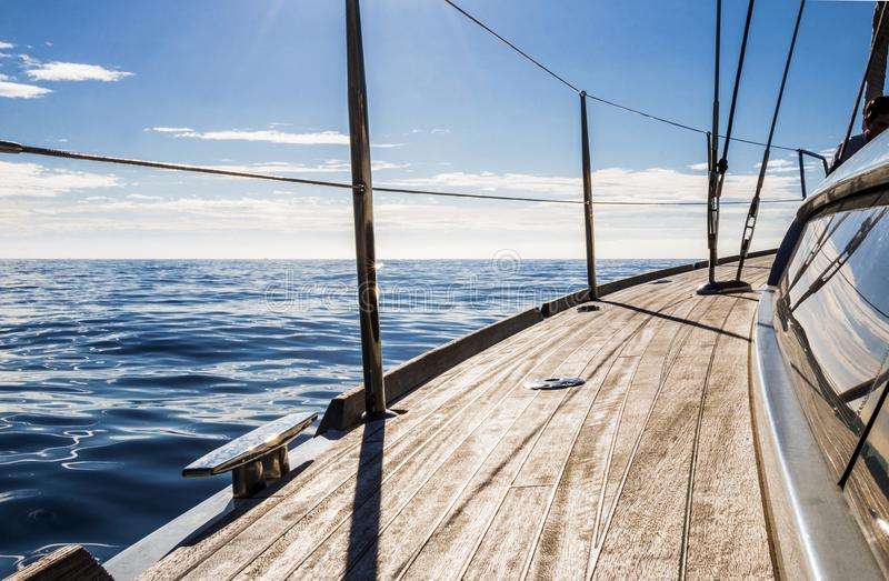 The Mediterranean Sea from a Sailing Boat`s deck. View of the Mediterranean Sea in Summer from the desk of a sailing boag stock images
