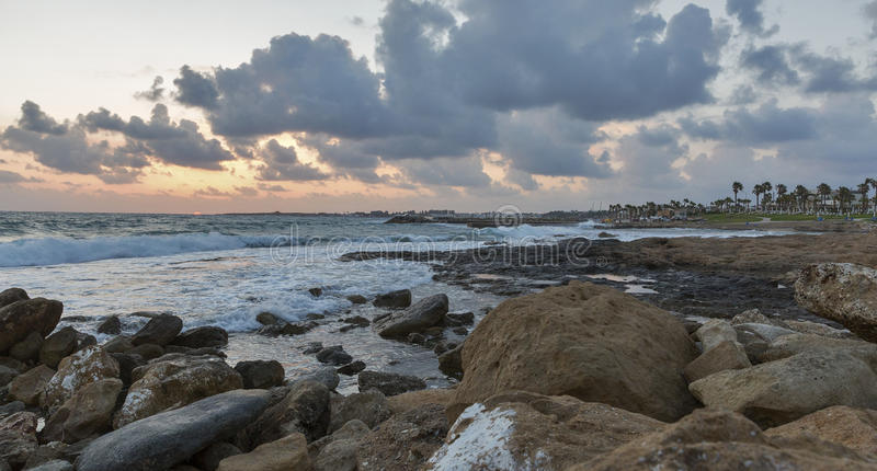 Mediterranean Sea sunset in Paphos, Cyprus. royalty free stock image