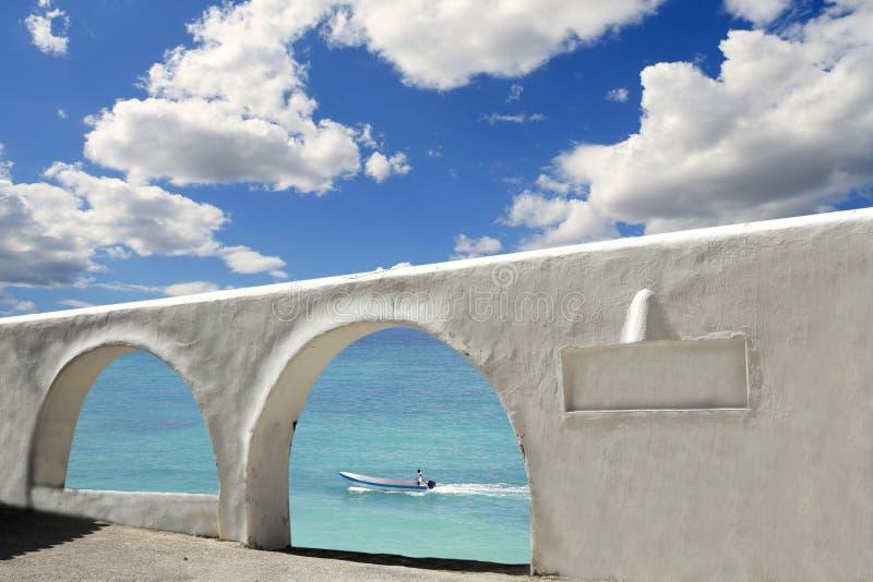 Mediterranean Sea View White Archs Architecture Royalty Free Stock Image