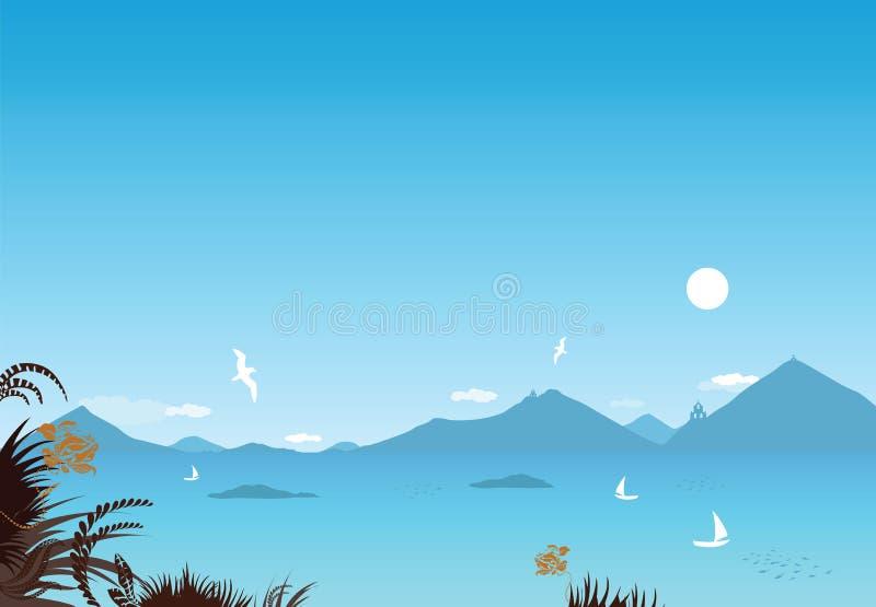 Mediterranean seaside vector illustration