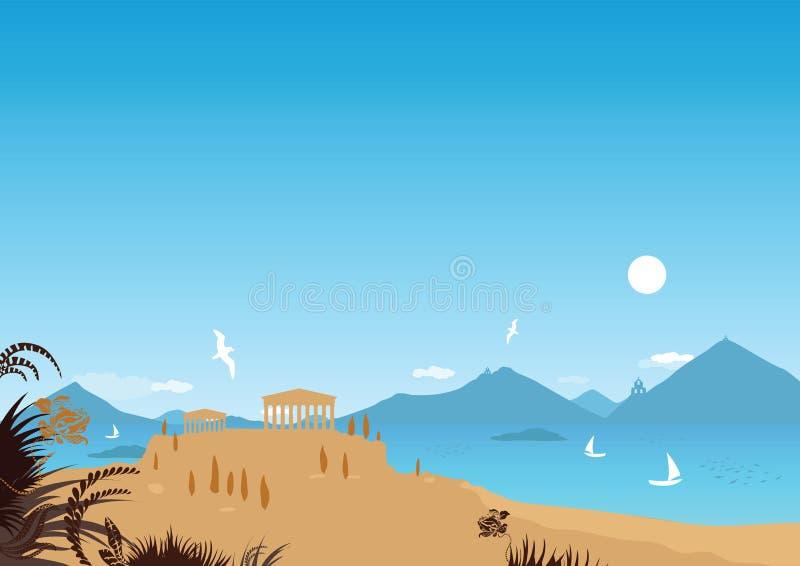 Mediterranean seaside (vector) royalty free stock photography