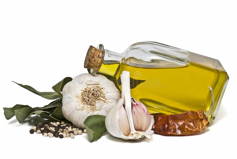 Mediterranean spices and olive oil. royalty free stock photos