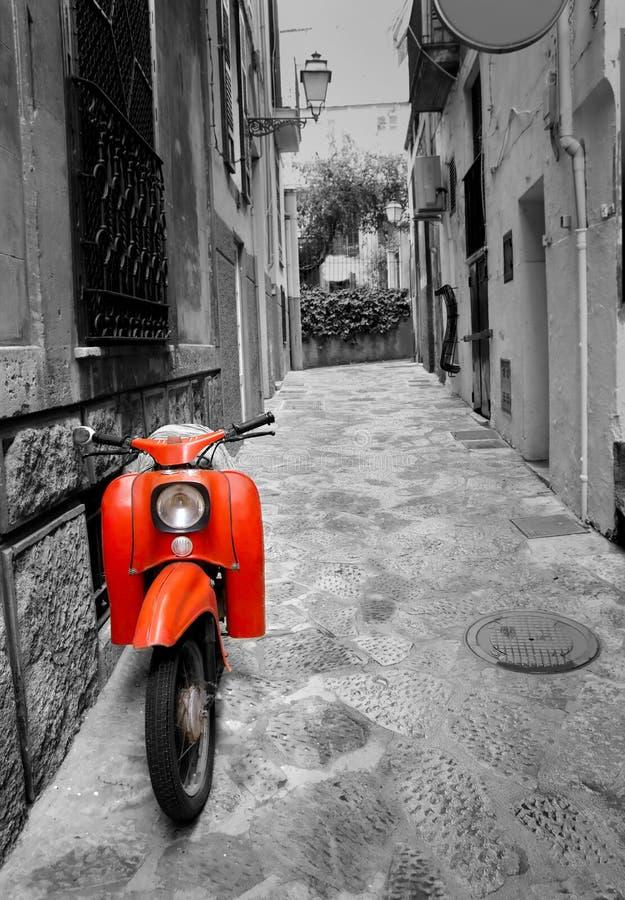 Mediterranean Street With Retro Scooter Stock Photo