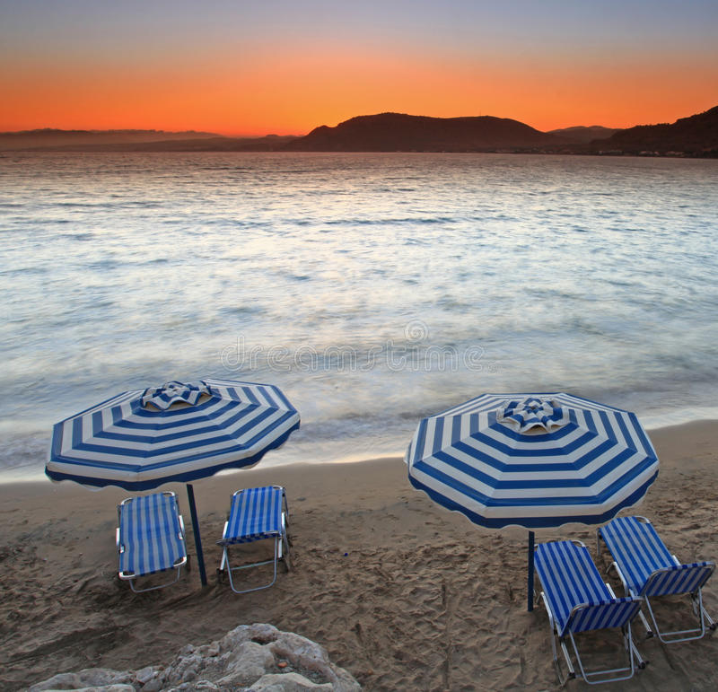 Mediterranean Sunset at Pefkos. Sunset over Pefkos beach in Rhodes in Greece royalty free stock photos