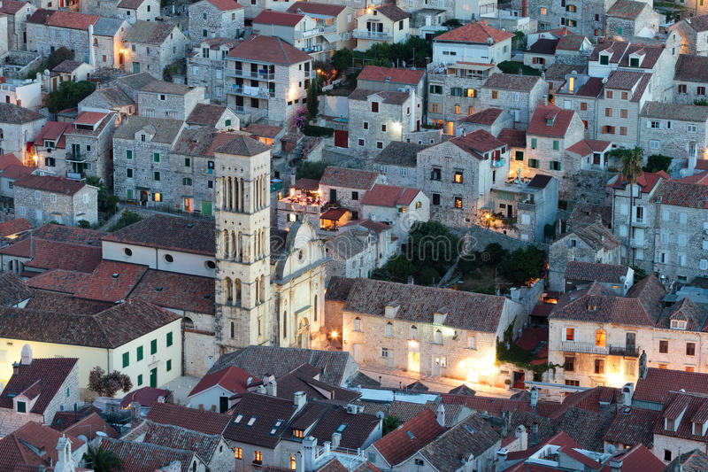 Mediterranean town at night royalty free stock photography