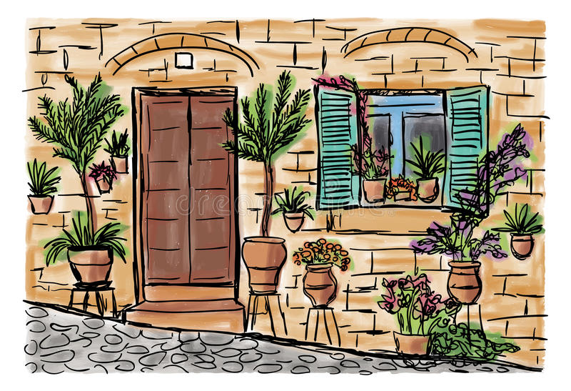 Mediterranean town painting. The Mediterranean town house style, hand drawn painting vector illustration