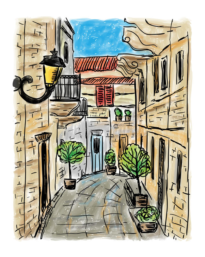 Mediterranean town painting. The Mediterranean town house style, hand drawn painting royalty free illustration