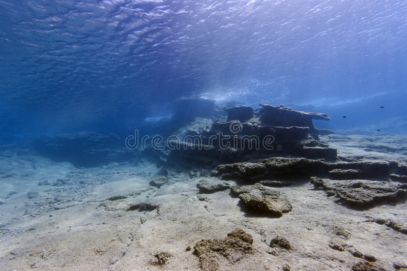 Mediterranean underwater landscape. Underwater photograph of a landscape, Mediterranean sea of Turkey. Stony sea-bed with rocky reefs in the background stock photos