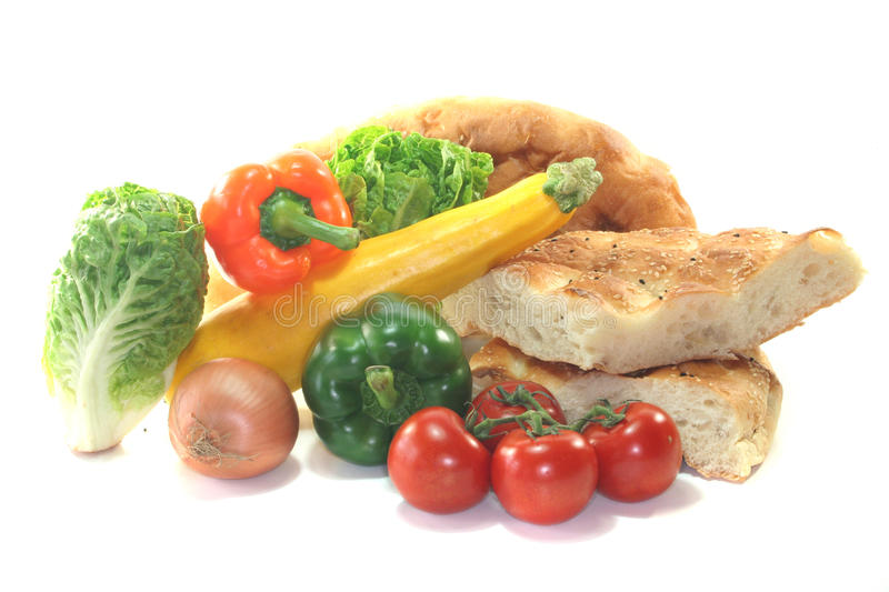 Mediterranean vegetables with pita bread stock photography