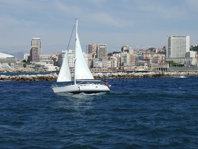 Mediterranean white boat royalty free stock photo