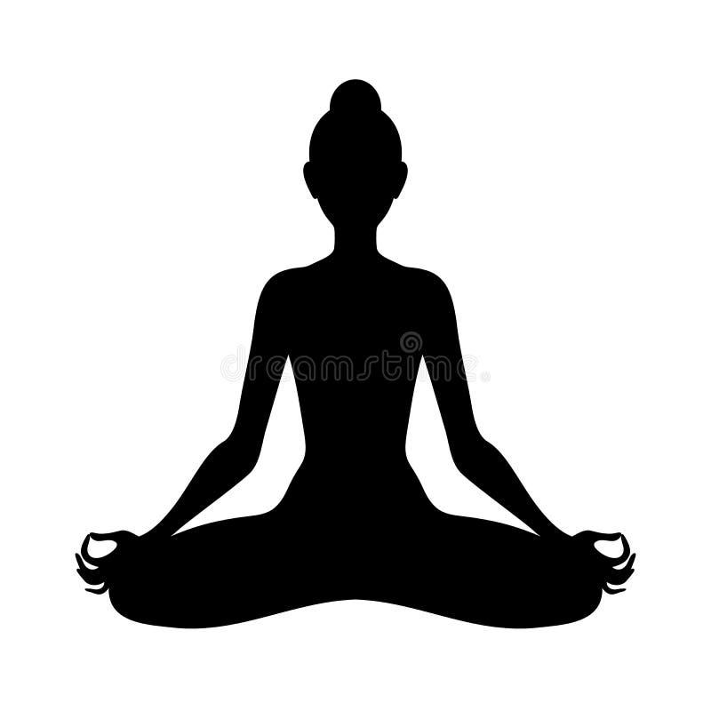 Meditierende Frau in der Lotoshaltung Yogaillustration lizenzfreie abbildung