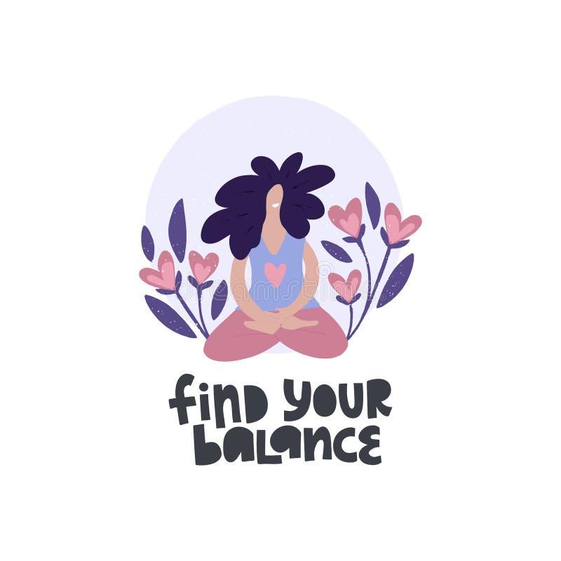 Meditierende Frau flache Vektorgrafik Finden Sie Ihren Saldo stock abbildung