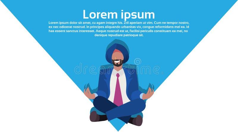 Meditierende männliche Zeichentrickfilm-Figur der nationalen traditionellen Kleidung der indischen Geschäftsmannsitzenlotosyogaha stock abbildung