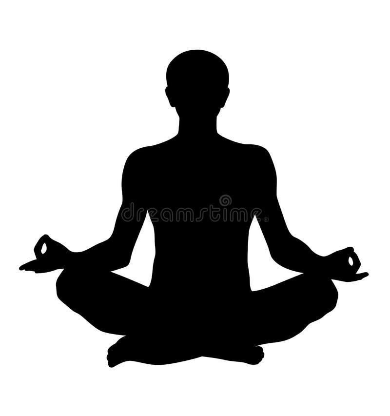 Meditierendes Lotoshaltungs-Vektorschattenbild vektor abbildung