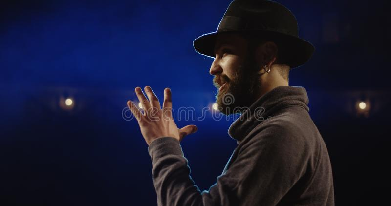Actor performing a monologue in a theater royalty free stock photo