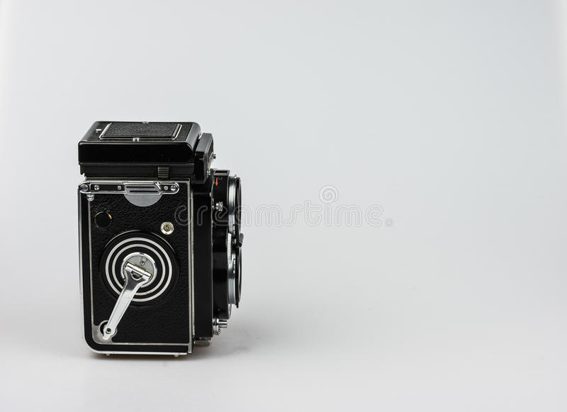 Medium format bioptical camera, analog photography stock photo