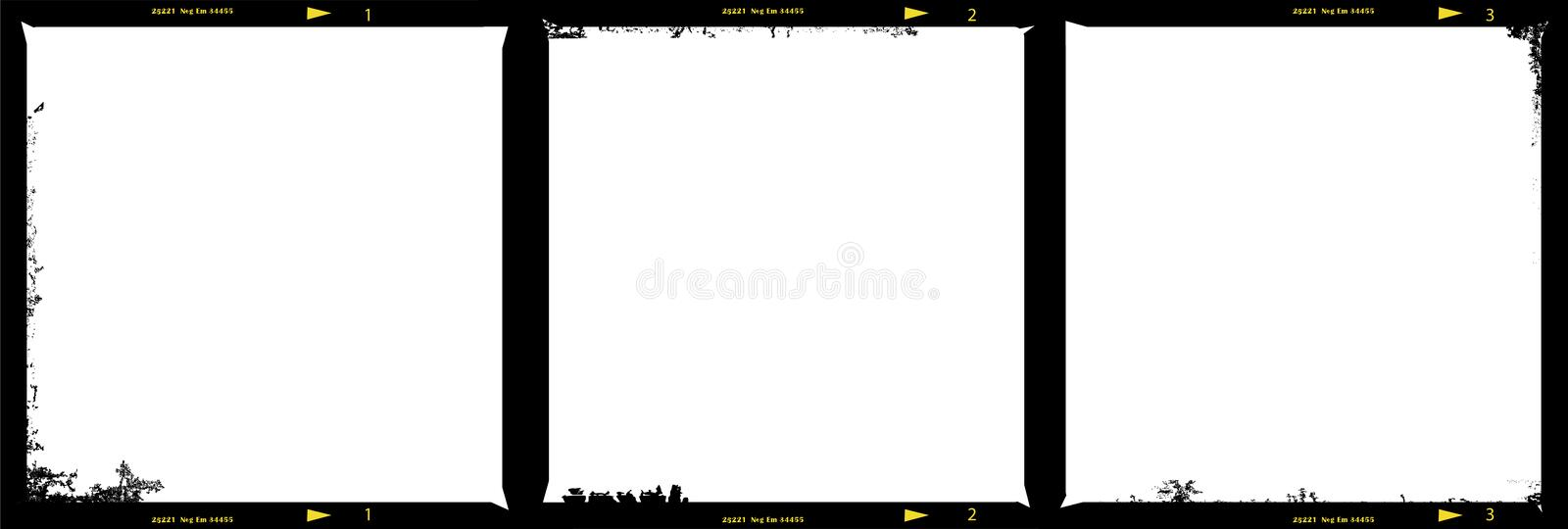 Medium format film strip picture frames. With free copy space, grungy vector royalty free illustration