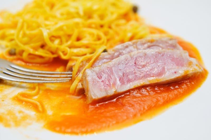 Medium Rare Tuna Fish And Fresh Tagliatini Royalty Free Stock Photo