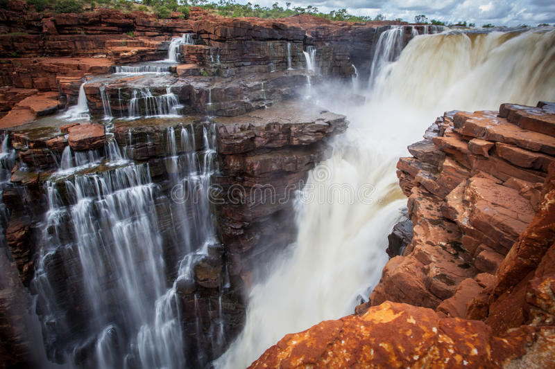 Medium shot of Easternmost waterfall on the King George River. The Kimberley Region in Western Australia is visited by thousands tourists every year for its royalty free stock photography