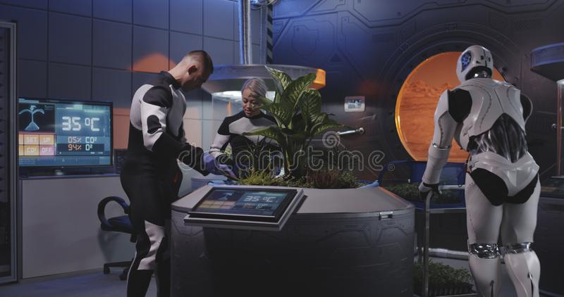 Biologists and robot planting seedlings on a Mars base stock images