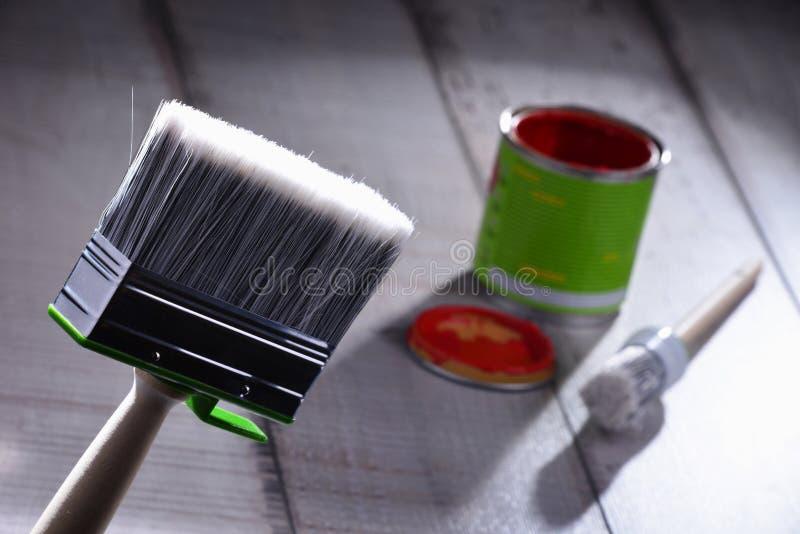 Medium size paintbrush for home decorating purposes.  stock photo