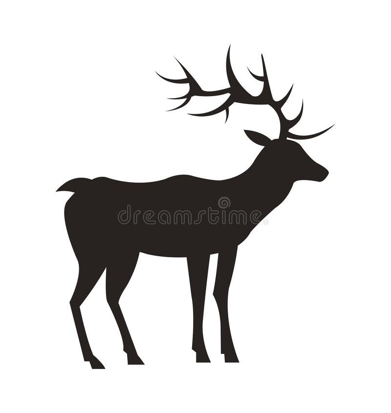 Medium-Sized Adult Male Deer Colorless Black Icon. Medium-sized adult male deer colorless black silhouette with long antlers and short tail isolated vector vector illustration