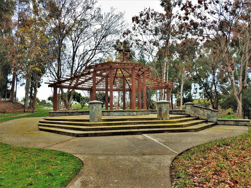 Medium Sized Corporate Gazebo in Park on Rainy Day royalty free stock images