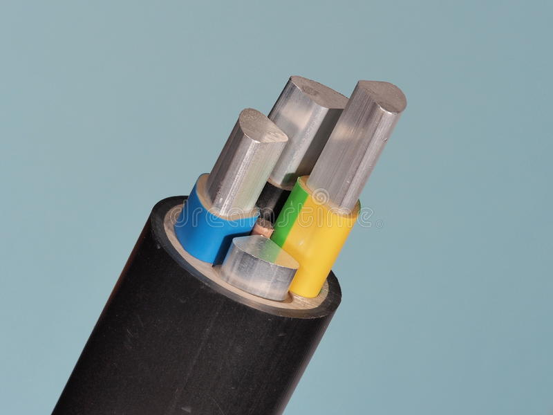 Medium voltage 1kV Aluminum sector cable end. With stripped conductors, PVC insulation and black jacket, Melbourne 2015 stock image