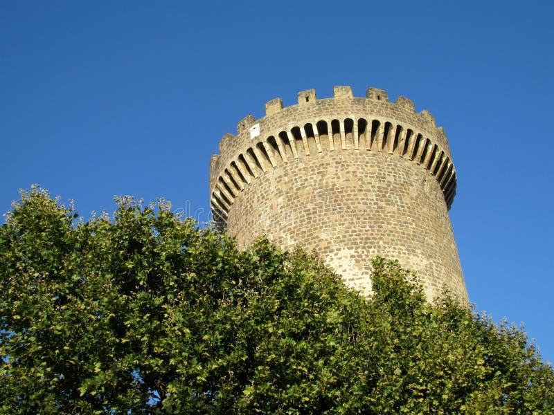 Medival在绿色树中的城堡塔 免版税图库摄影
