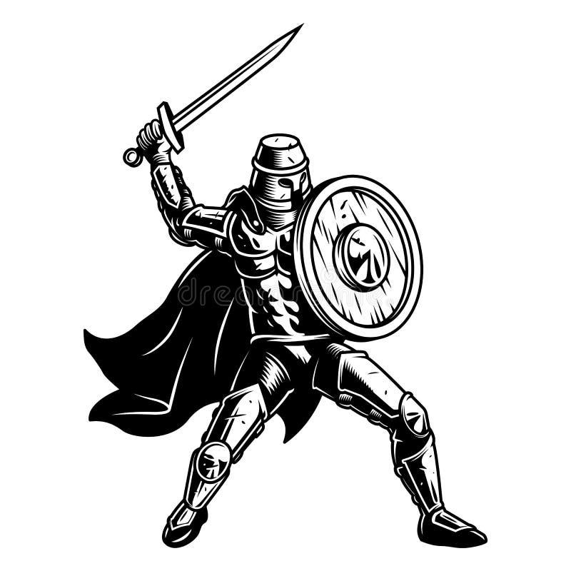 Medival żołnierz z osłoną ilustracja wektor