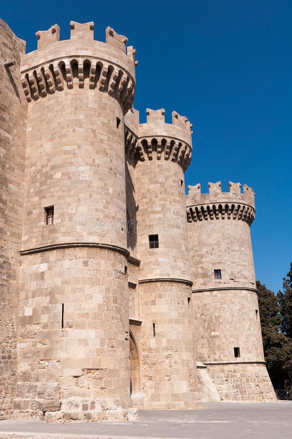 Medieval castle in old town of Rhodes royalty free stock images