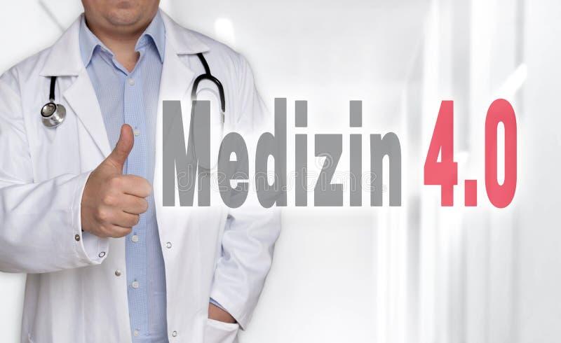 Medizin 4 0在德国医学概念和医生有拇指的 库存照片