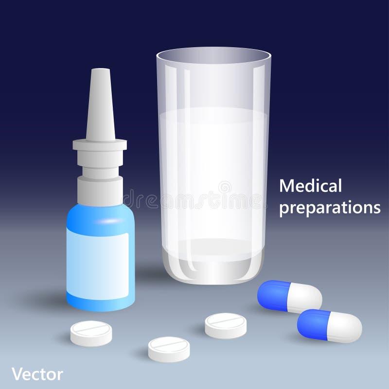 Medizin für Behandlung, Tabletten und Spray ENV 10 lizenzfreie stockfotografie