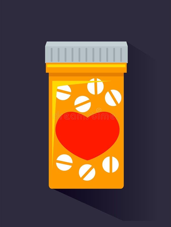 Medizin-Flasche mit Tablet lizenzfreie abbildung