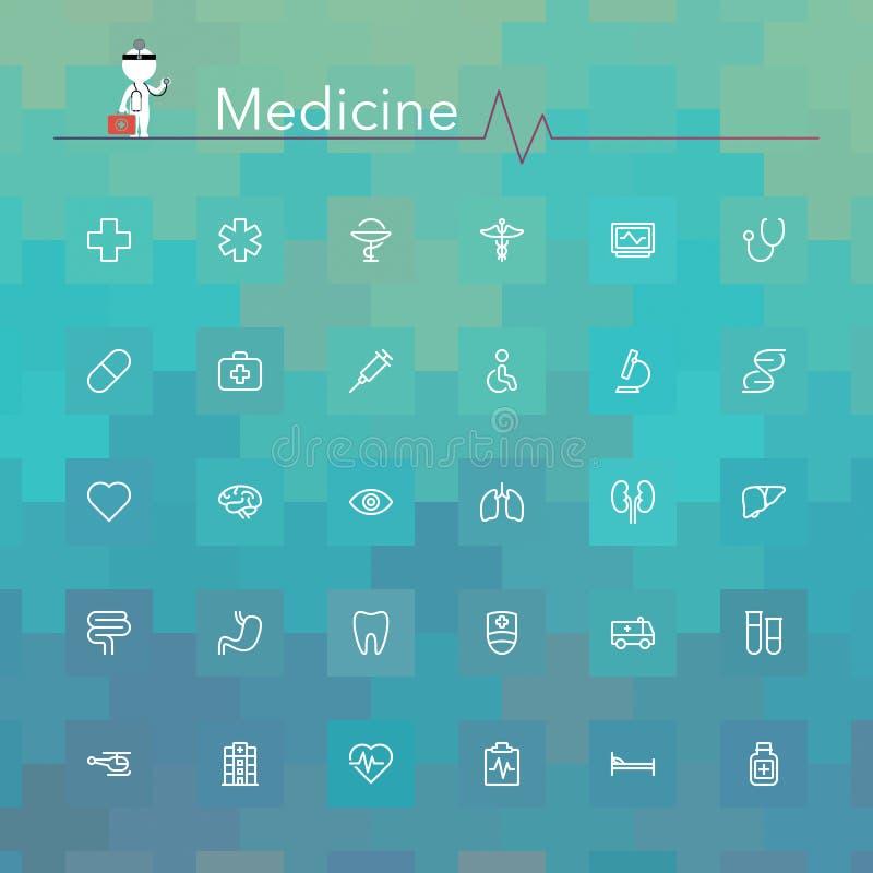 Medizin-Linie Ikonen vektor abbildung