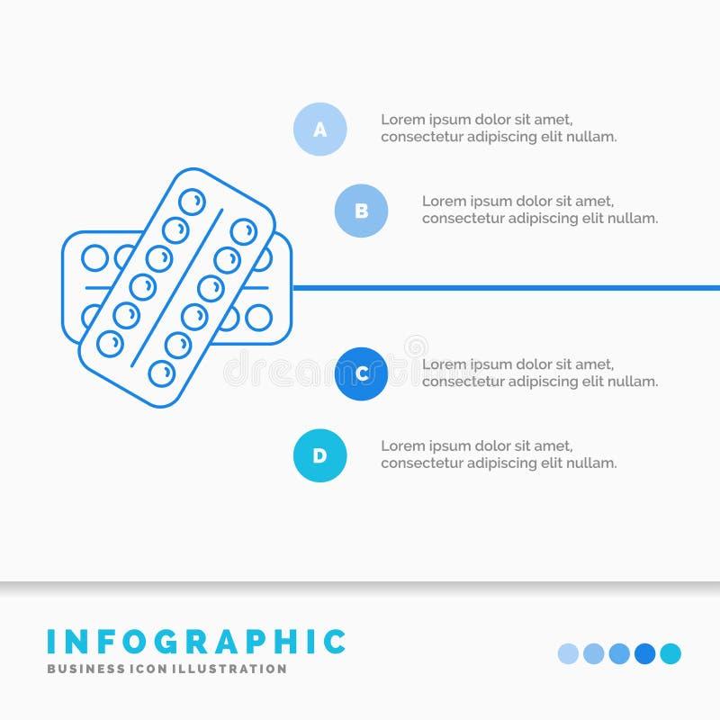 Medizin, Pille, Drogen, Tablette, Patient Infographics-Schablone f?r Website und Darstellung Linie infographic Artvektor der blau lizenzfreies stockbild