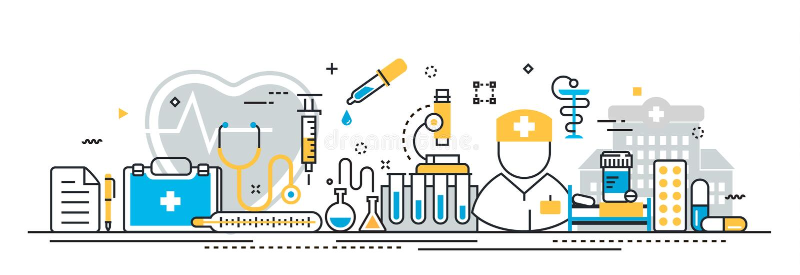 Medizin und Gesundheitswesen halten Titelfahne für Landungsseitenwebsite instand vektor abbildung