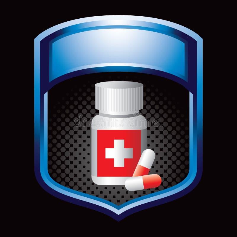 Medizinflasche auf blauer Bildschirmanzeige vektor abbildung
