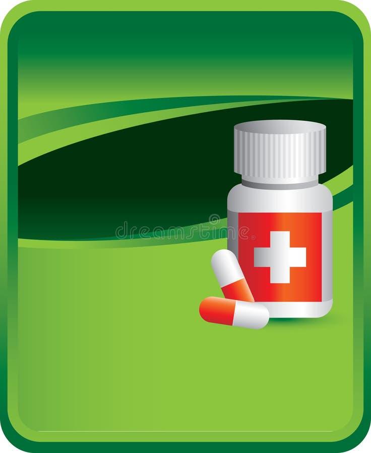 Medizinflasche auf grünem Hintergrund lizenzfreie abbildung