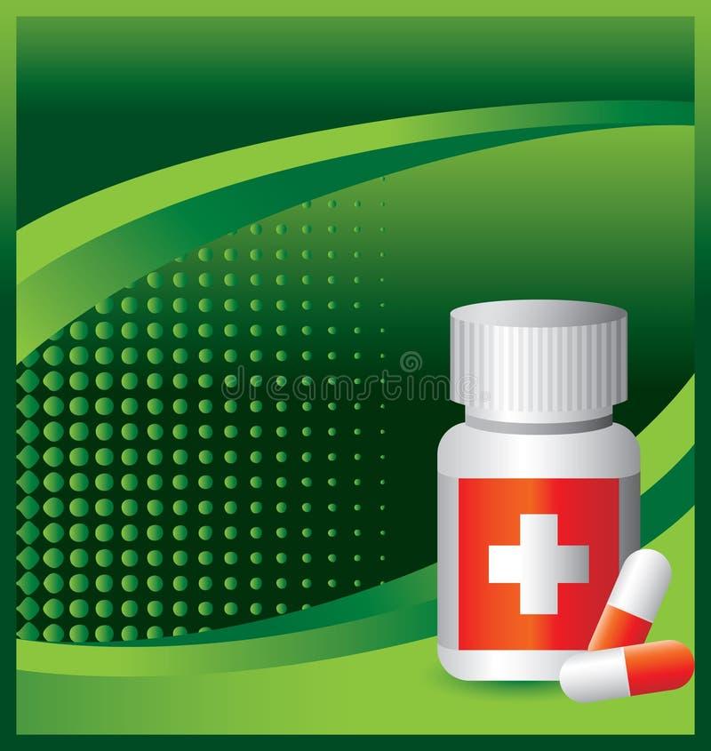 Medizinflasche auf grüner Halbtonfahne vektor abbildung