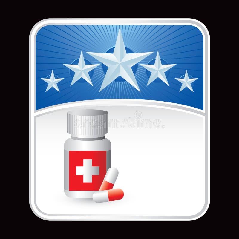 Medizinflasche auf Hintergrund des blauen Sternes lizenzfreie abbildung