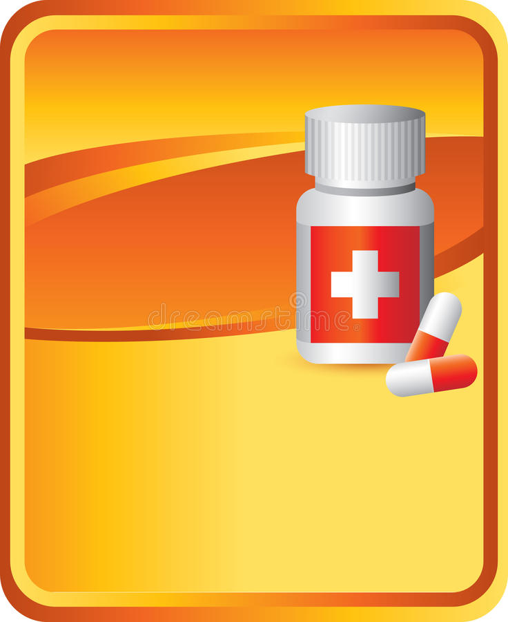 Medizinflasche auf orange Hintergrund vektor abbildung