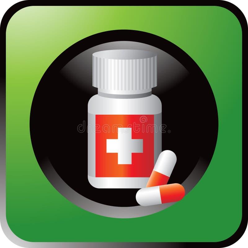 Medizinflasche in der grünen Web-Taste lizenzfreie abbildung