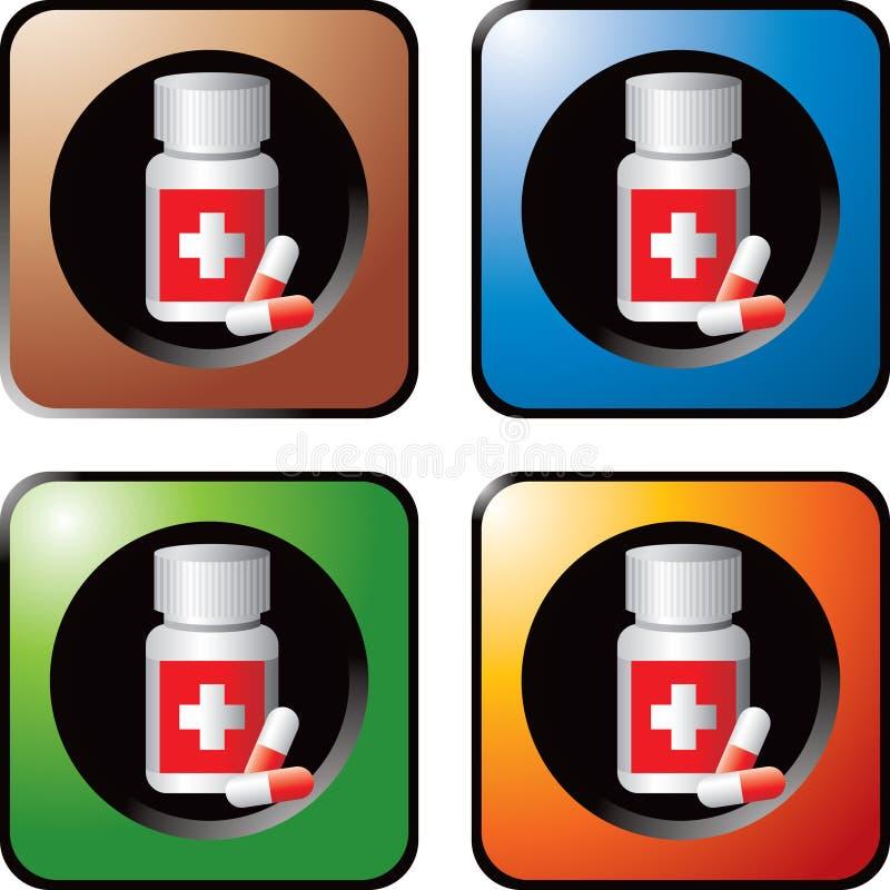 Medizinflasche mit Pillen färbte Web-Tasten lizenzfreie abbildung