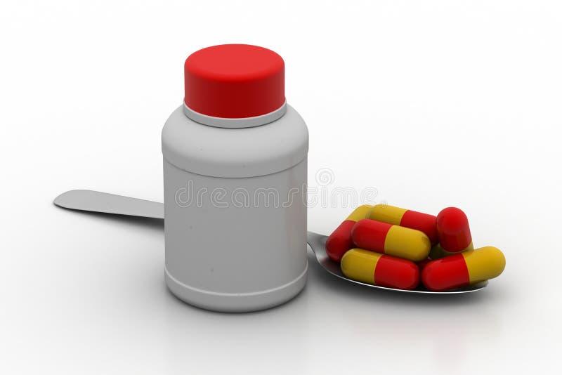 Medizinflaschen mit Kapseln stock abbildung