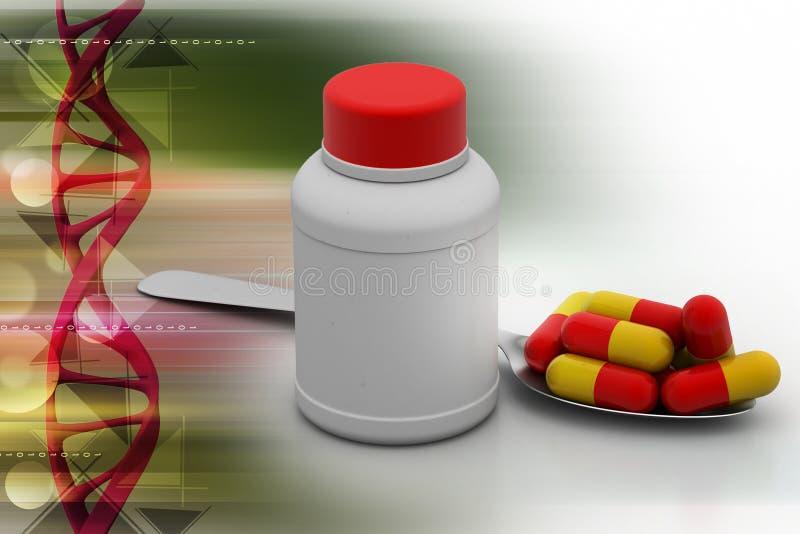 Medizinflaschen mit Kapseln vektor abbildung