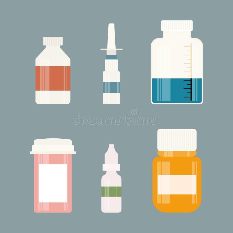 Medizinflaschensammlung Flaschen Drogen, Tabletten, Kapseln und Sprays Auch im corel abgehobenen Betrag stock abbildung