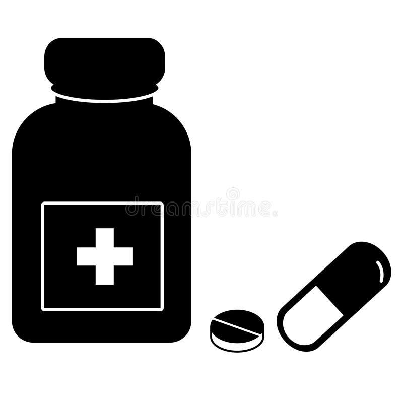 Medizinikone auf weißem Hintergrund Pillen und Kapselikone lizenzfreie abbildung